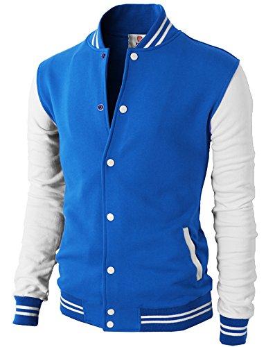 H2H Mens Slim Fit Varsity Baseball Bomber Cotton Lightweight Premium Jacket Cmoja083-blue Small