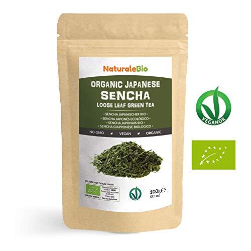 Thé vert Sencha Japonais Bio [ Upper grade ] de 100g. 100 % Bio, Naturel et Pur, Thé vert en vrac de première récolte cultivée au Japon. Organic Japanese Sencha Green Tea. NaturaleBio
