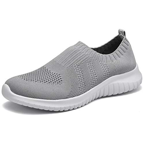 konhill Women's Walking Tennis Shoes - Lightweight Athletic Casual Gym Slip on Sneakers 7 US L.Gray,38