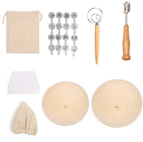 Cesta fermentación redonda de 22 cm et 25cm 24 PCS, incluye 5 raspadores masa cortador de masa, 16 PCS plantillas decoración de pan, varilla de agitador de harina, raspador, bolsa de pan de lino