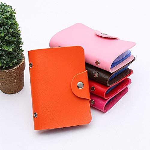 Fashion Credit Card Holder Men Women Travel Cards Wallet PU Leather Buckle Business ID Card Holders-Orange