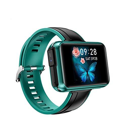 LHHJPULS 2020 Inteligentes Nuevo Reloj SANLEPUS Hombres Mujeres SmartWatch con Auriculares inalámbricos Bluetooth Audífonos Pulsera Fitness Sport (Color : Green Silicone Strap)