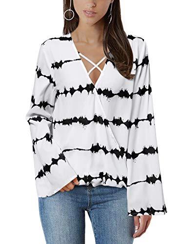 YOINS Blusa para Mujer de Raya Elegantes y Moda Camisa Manga Larga con Cuello en V Cruzado Tops Sexy con Manga Murciélago Negro EU 48