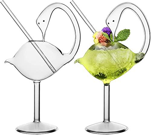 RYSF Copa de cóctel - Conjunto de 2 cisnes Vidrio Creativo diseño de Aves de diseño Individualidad Copa de Vidrio para Whisky Vino de Vino Champagne