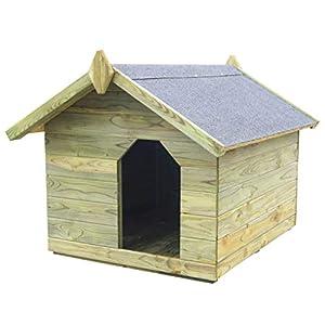 Tidyard Casas de Perros para Jardín,Caseta de Exterior para Perros,Apertura de Techo,Impermeable y Resistente Intemperie y Putrefacción,Madera Pino Impregnada 85x103,5x72cm
