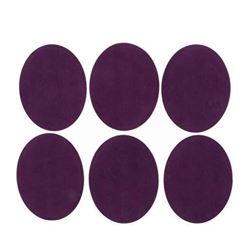 Hellery 6X Patch Auto-Adhésifs Thermocollant en Tissu Ovale sur Coude de Genou pour Textiles de Maison Coutures 5,5 x 4,3 Pouces - Violet