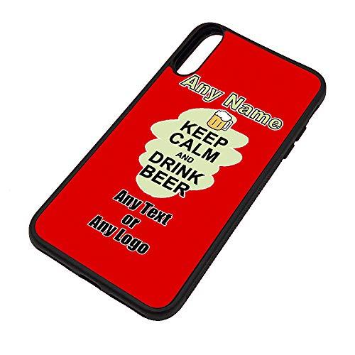 Gepersonaliseerd geschenk - Keep Calm Drink Beer iPhone Xs / Xs Max / XR Case (Voedselontwerp) Elke Naam Bericht Unieke Apple TPU Cover - Draag Poster Party Dieet Snack Wijn Melk Koffie Thee Chocolade Sap Coke