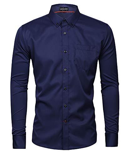 Kuson Herren Business Hemd Slim Fit für Freizeit Hochzeit Reine Farbe Hemden Langarmhemd (XL, Marine)