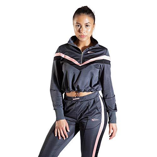 SMILODOX Damen Cropped Longsleeve Obsession | Sweater für Sport Fitness & Freizeit | Longsleeve | Langarmshirt, Farbe:Anthrazit, Größe:L