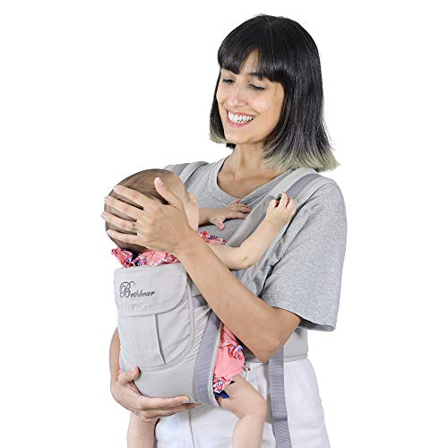 SpringBuds Baby Carriers Front and Back for Newborns to Toddlers, 6-in-1 Baby Kangaroo Carrier Wrap Backpack for Dad and Mom, 0-36 Months (Grey)