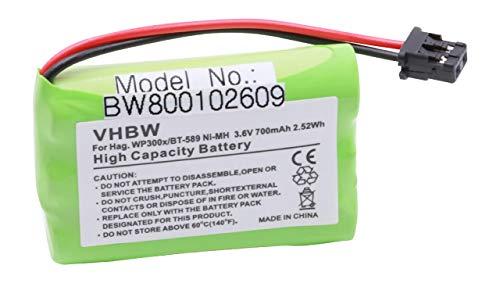 vhbw NiMH Akku 700mAh (3.6V) für Handy, Smartphone, Telefon Hagenuk WP300, WP300X, SL300800 wie BT-589.