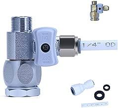 YUHX Metal Brass 3/8 Feed Water Adapter Water Line T Valve Adapter 1/4