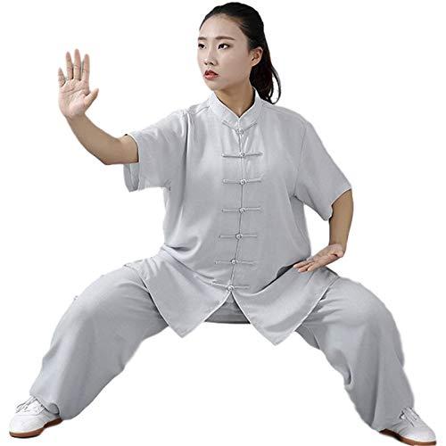GHJUH Trajes De Tai Chi Unisex Artes Marciales Ropa De Kung Fu Uniformes De Tai Chi Tradicional Chino Traje De Mañana Traje De Algodón Y Lino para Un Ajuste Relajado En CasaGray-X Small