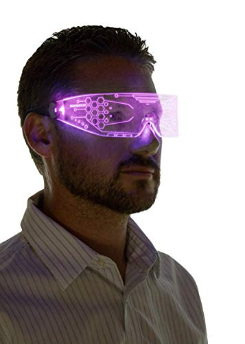 Neon Nightlife LED Light Up Glasses, Pink | Cyberpunk Goggles, Rezz Visor Robocop Futuristic Electronic Lights