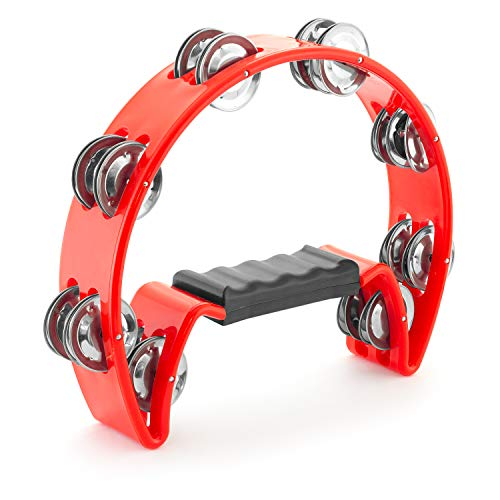Tiger Half Moon Tambourine in Red - Plastic Cutaway Tambourine
