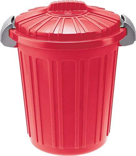 Tontarelli - Bidone in Plastica con Coperchio 23 Litri, Dimensioni 34,5 x 46 cm, Colore Rosso Mattone, Modello TEO