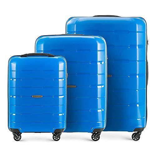 WITTCHEN Koffer-Set 3tlg Koffer Reisekoffer | Blau | 78x31x55 | Kapazität: 101L | Gewicht: 10.5kg 56-3T-72S-95