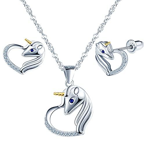 Beforya Paris - Juego de joyas de unicornio, aguamarina, plata 925 con circonita, maravillosos pendientes y collar con caja de regalo