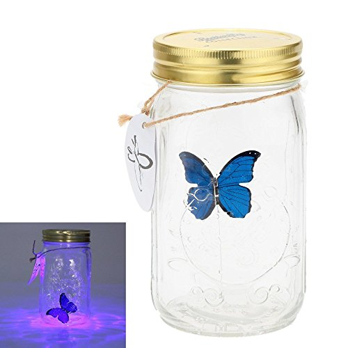 Gearmax® 1 Piece Lamp Romantique Verre Papillon LED Jar/Papillon réservoir Bouteille Valentine Enfants Cadeau Décoration Présent(Bleu)
