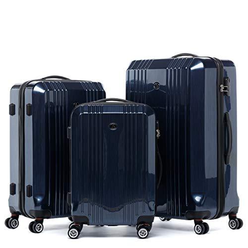 FERGÉ Kofferset Hartschale 3-teilig Cannes Trolley-Set - Handgepäck 55 cm, L und XL 3er Set Hartschalenkoffer Roll-Koffer 4 Rollen blau