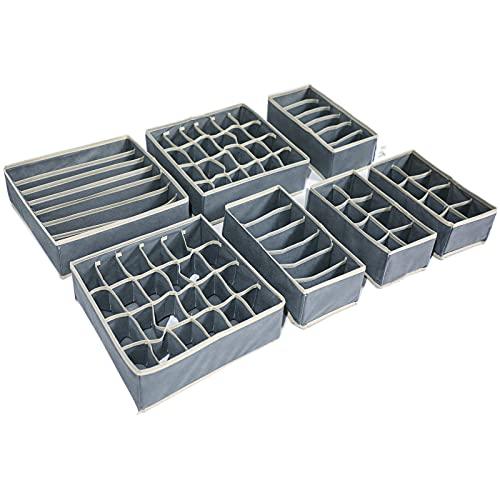 TLOXO Caja de Almacenamiento Plegable para cajones - 7 Paquetes,Organizador para Ropa Interior, Separadores de Cajones,Ropa Interior, Sujetadores, Corbatas, Bufandas, Telas no Tejidas,Ahorra Espacio