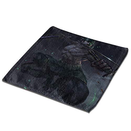 Anime - Toalla de mano Roronoa Zoro para baño, casa, spa, gimnasio, cuadrado, poliéster ultra suave y altamente absorbente (negro, 3 piezas x toalla de baño) 1 pieza