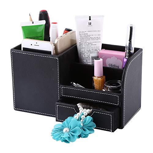 Organizador de papelería de escritorio, caja organizadora de almacenamiento Madera moderna de 23,4 x 10,4 x 12,3 cm Madera y cuero sintético Hecho para fines de exhibición que no incluye.