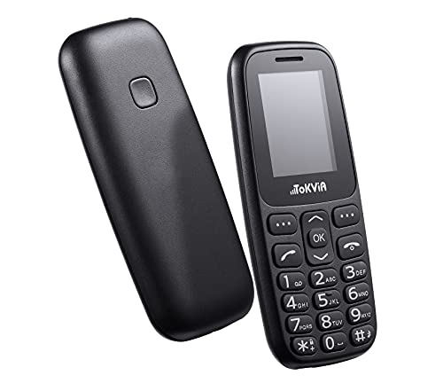 TOKVIA T101 Teléfono Móvil para Personas Mayores con Botón SOS, Pantalla de 1,77 Pulgadas, Fácil de Usar Simple Basico Telefono para Ancianos, Negro