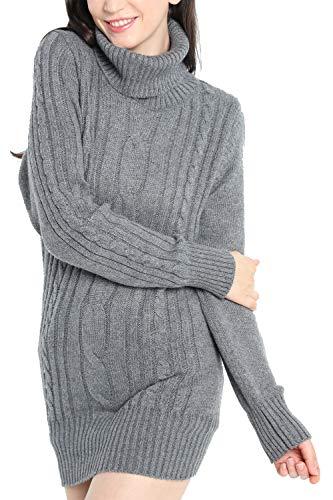 LinyXin Cashmere Damen Winter Kaschmir Langarm Rollkragen Pullover aus Wolle Kleid Gestrickter Sweater Pullover Kleid (L / 42-44, Grau)