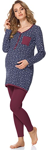 Bellivalini Premamá Pijama Conjunto Camiseta y Leggins Lactancia Maternidad Mujer BLV50-125 (Azul...