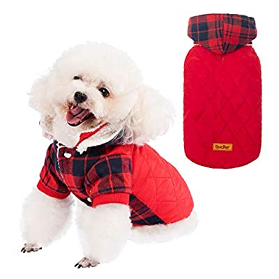 BINGPET Warm Dog Coat Winter Clothes - Classic Plaid Pet Cold Weather Coat with Lamb Wool Inside, Red Vest Jacket Cute Clothing for Puppies, Cats, Dogs