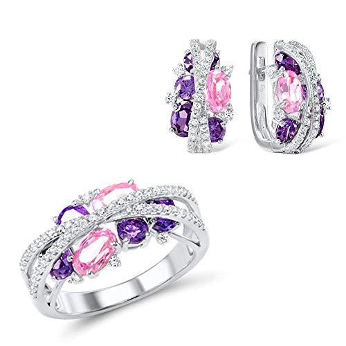 Stijlvolle Eenvoud Sieraden Set Dames Sprankelend Paars Amethist Roze Zirkonia Oorbellen Ring Set Fijne Sieraden 6, DZ