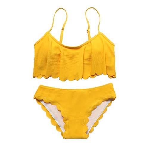 Chiheng Nette Badebekleidung 2 Stück Für Frauen Tankini Gepolsterte Träger Bikini Rüschen Strand Bäder Dreieck Hohe Taille (Color : Yellow, Size : S)