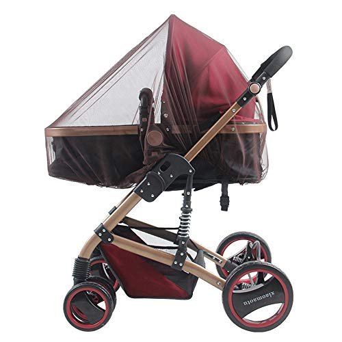 MMWW Zuigelingen Kinderwagen Kinderwagen Muggennet Veilig Mesh Buggy Wieg Nettenwagen Klamboe Kinderwagen Volledige hoes Netten-bruin