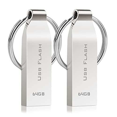 Licyley 2 Stück USB Stick 64GB Speicherstick USB-Flash-Laufwerk Metall Wasserdicht High Speed USB Sticks Data Datenspeicher