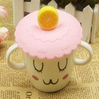 Narutosak Cup Lids, Sealed Cute Fruit Glass Cup Cover Silicone Suction Leakproof Coffee Mug Lid - Pink