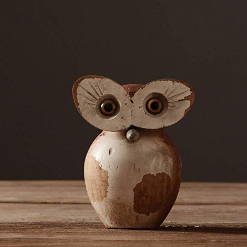 Wooden Owl Figurine,Owls Lovers Office Decoration Collection Sculptures,Handmade Animal Sculptures For Home Decor Accents Room A 12x12x15cm(5x5x6inch)