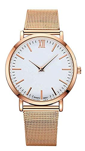 Lsv-8 - Reloj de Pulsera Ultrafino para Hombre y Mujer (Correa de Malla de Acero Inoxidable), Color Oro Rosa
