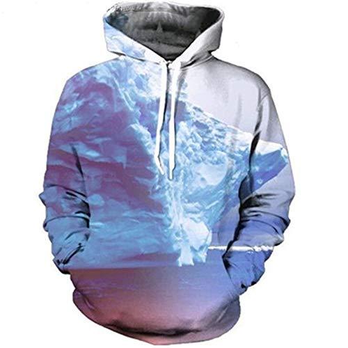 XYL HOME trui met capuchon, heren en vrouwen realistische 3D-printen iceberg trui met capuchon hoodie grote zak