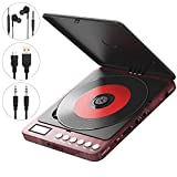 Portable CD Player, 2400mAh Rechargeable Compact Personal CD Player with Double Headphones Jack Support Shockproof/Anti-Skip Protection, Walkman Music Disc Player with Audio Cable (Red)