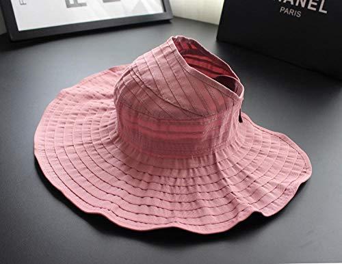 ZZKHSM Sommer Frauenhüte sind frei, Leere Zylinder Schatten Stoff Hut Wilde Sonne Hut UV-Schutz-pink_B zu Falten