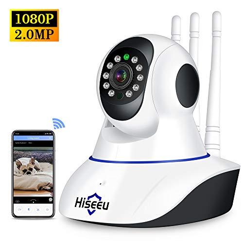 Walmeck Cámara de Seguridad inalámbrica 1080P HD WiFi Cámara IP para bebé/Anciano/niñera/Mascota Cámara de vigilancia Soporte de visión Nocturna Detección de Movimiento Audio bidireccional