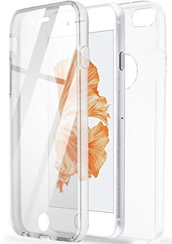 ONEFLOW Dünne Doppelhülle [vorne + hinten] aus Silikon kompatibel mit iPhone 7 / iPhone 8   Kristallklarer 360° Rundumschutz, Farblos