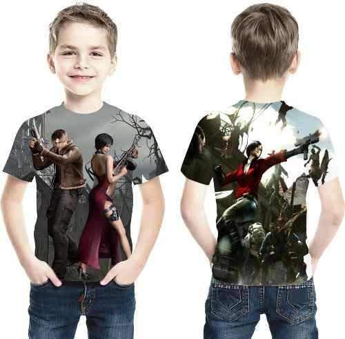 Camiseta Game Resident Evil 4 Ref 022 Estampa Total Infantil