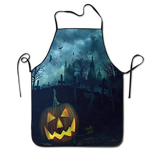 Not Applicable Halloween-Kürbis im gruseligen Friedhof Unheimliche düstere stürmische Atmosphäre Schürze Unisex Küchen-Latzhals zum Kochen Gartenarbeit, Erwachsenengröße