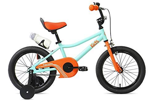 """FabricBike Kids - Bicicleta con Pedales para niño y niña, Ruedines de Entrenamiento Desmontables, Frenos, Ruedas 12 y 16 Pulgadas, 4 Colores (Aqua & Orange, 16"""": 3-7 Años (Estatura 96cm - 120cm))"""
