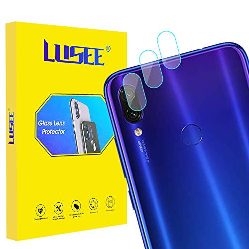 Lusee 3 Piezas Cristal Templado Lente Cámara para Xiaomi Redmi Note 7 Alta Definición Ultra Clara 2.5D Protector Cámara Trasera Lente Película de Pantalla