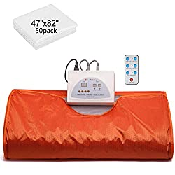 VANELL Sauna Blanket Upgraded Version Far-Infrared Digital Heat Sauna Heating Blanket, 2 Zone Controller with 50pcs Plastic Sheetings, to Reduce Weight Thin Body Home Beauty (Orange)