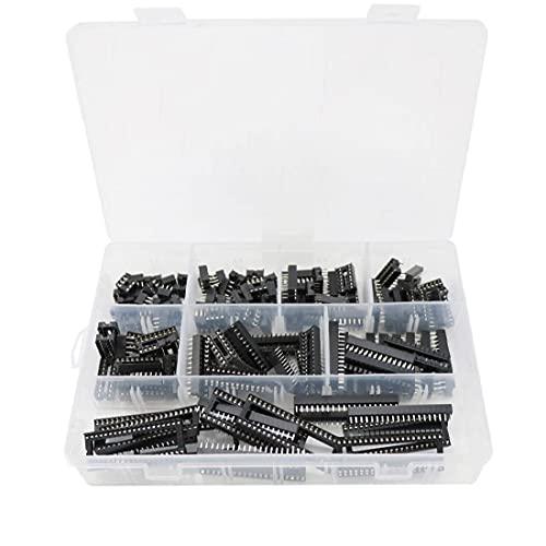 IC Socket Kit Doual Filas de soldadura Tipo Adaptador Agujero cuadrado 2.54mm IC Kit de chip DIP 8/6/14/16/18/24/200/18/18/24/28/40 Pines 122pcs Black conveniente