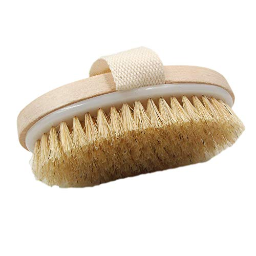 Hyshina Dry Skin Body Brush Improves Skin's Health And Beauty Natural Bristle Remove Dead Skin And Toxins Cellulite Treatment Improves Lymphatic Functions Exfoliates Stimulates Blood Circulation